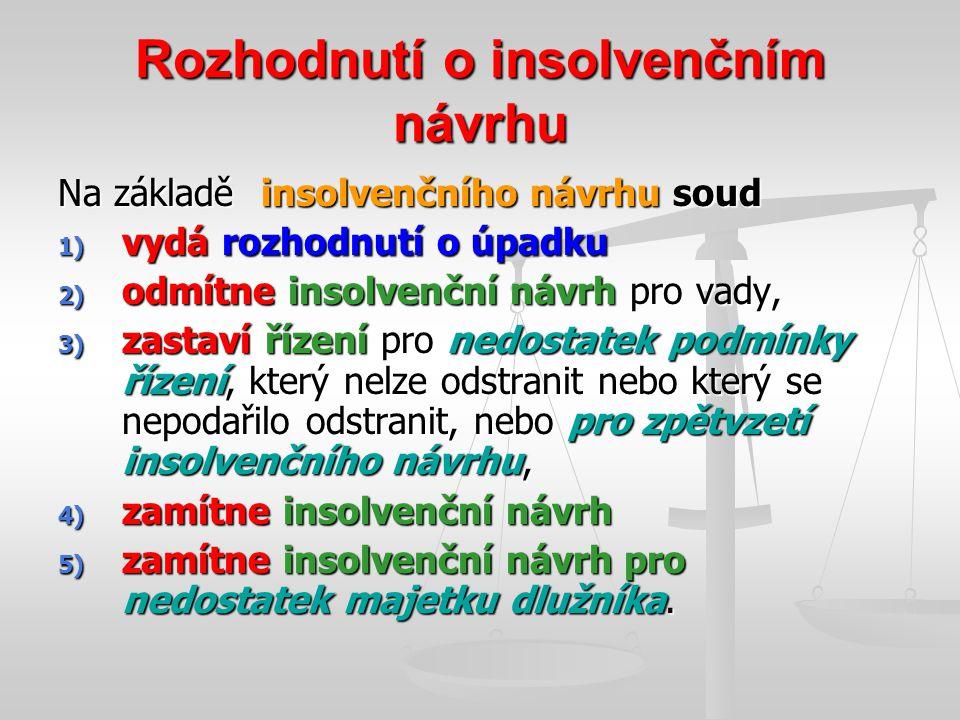 Rozhodnutí o insolvenčním návrhu Na základě insolvenčního návrhu soud 1) vydá rozhodnutí o úpadku 2) odmítne insolvenční návrh pro vady, 3) zastaví ří