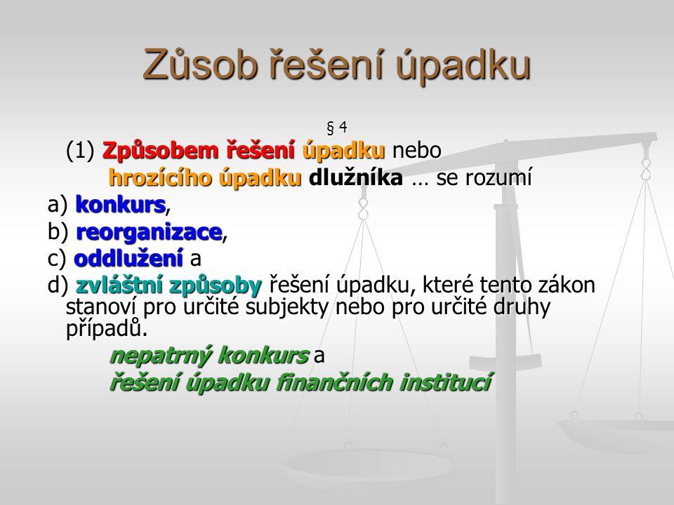 Zůsob řešení úpadku § 4 (1) Způsobem řešení úpadku nebo hrozícího úpadku dlužníka … se rozumí a) konkurs, a) konkurs, b) reorganizace, b) reorganizace