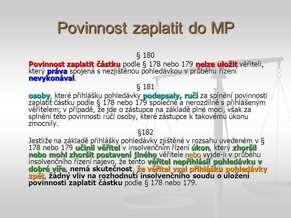 Povinnost zaplatit do MP § 180 Povinnost zaplatit částku podle § 178 nebo 179 nelze uložit věřiteli, který práva spojená s nezjištěnou pohledávkou v p