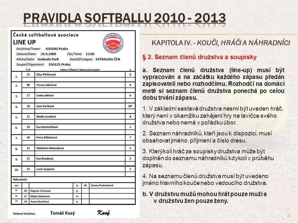 KAPITOLA IV.- KOUČI, HRÁČI A NÁHRADNÍCI § 5. Suplující hráč (Designated Player).