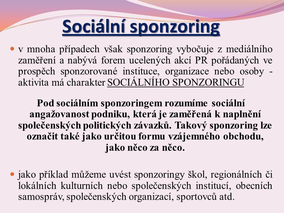 Sociální sponzoring v mnoha případech však sponzoring vybočuje z mediálního zaměření a nabývá forem ucelených akcí PR pořádaných ve prospěch sponzorované instituce, organizace nebo osoby - aktivita má charakter SOCIÁLNÍHO SPONZORINGU Pod sociálním sponzoringem rozumíme sociální angažovanost podniku, která je zaměřená k naplnění společenských politických závazků.