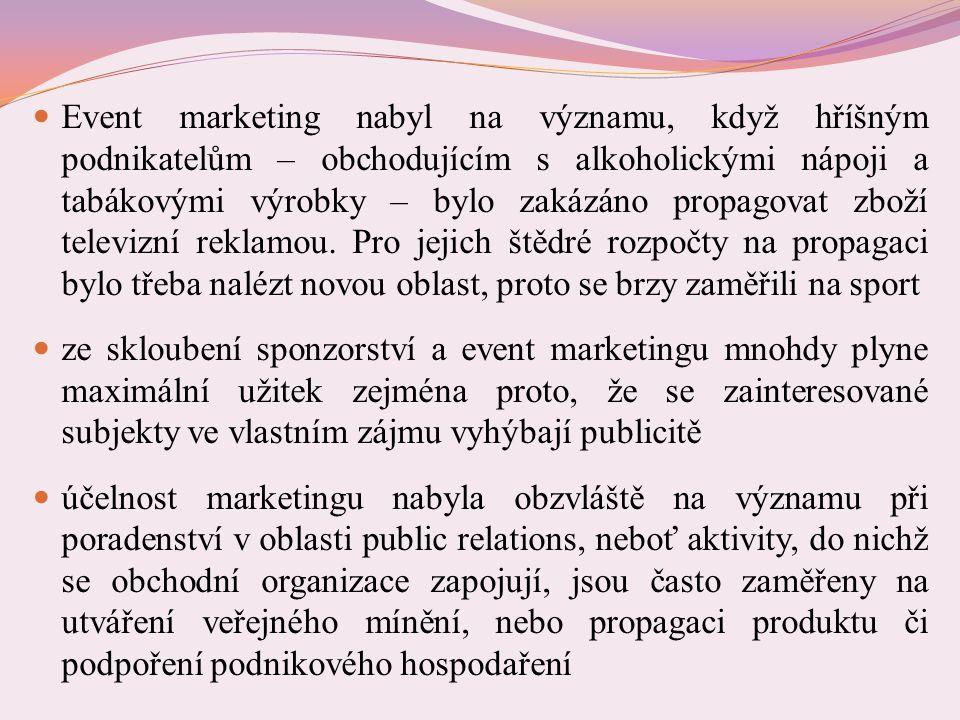 Event marketing nabyl na významu, když hříšným podnikatelům – obchodujícím s alkoholickými nápoji a tabákovými výrobky – bylo zakázáno propagovat zboží televizní reklamou.
