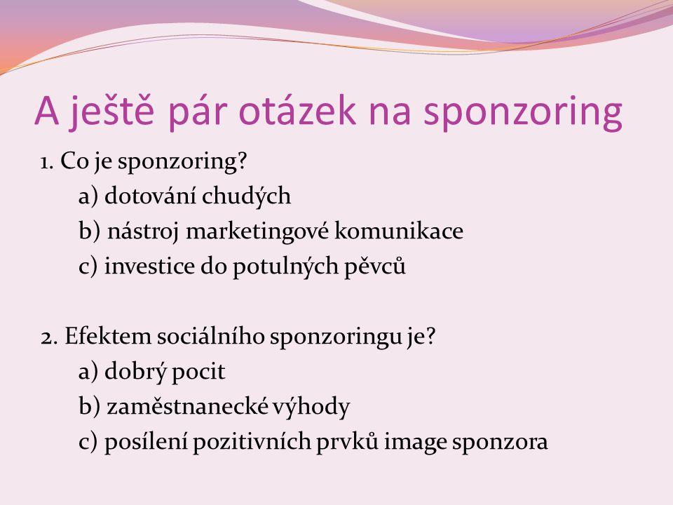 A ještě pár otázek na sponzoring 1.Co je sponzoring.