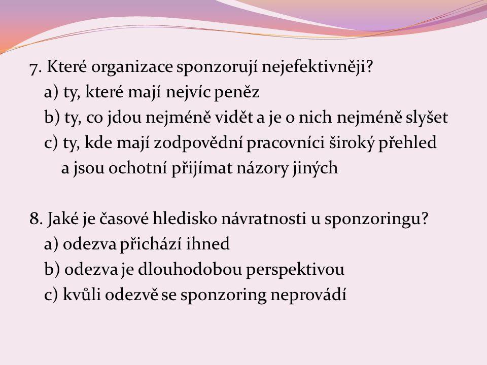 7.Které organizace sponzorují nejefektivněji.