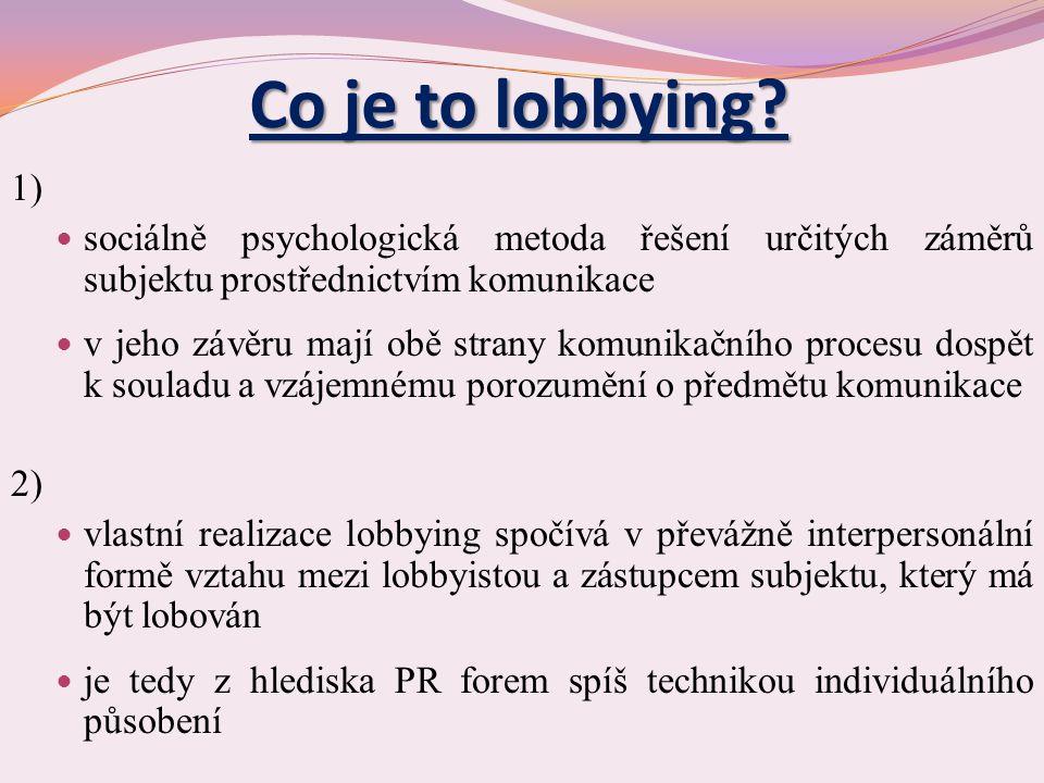 3) lobbying charakterizuje zvláštnost, že jej realizují tzv.