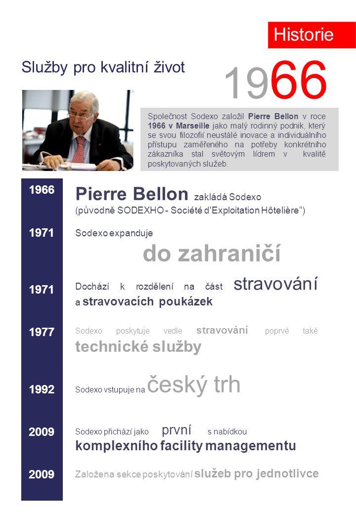 Služby pro kvalitní život 19 66 Společnost Sodexo založil Pierre Bellon v roce 1966 v Marseille jako malý rodinný podnik, který se svou filozofií neustálé inovace a individuálního přístupu zaměřeného na potřeby konkrétního zákazníka stal světovým lídrem v kvalitě poskytovaných služeb..