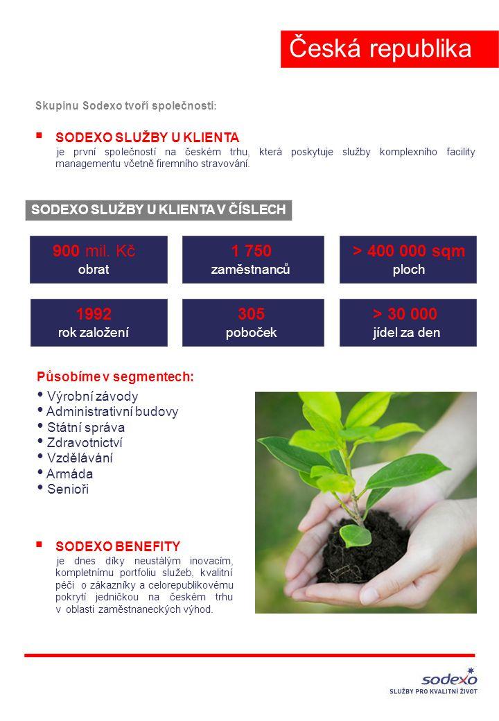 Skupinu Sodexo tvoří společnosti :  SODEXO SLUŽBY U KLIENTA je první společností na českém trhu, která poskytuje služby komplexního facility managementu včetně firemního stravování.