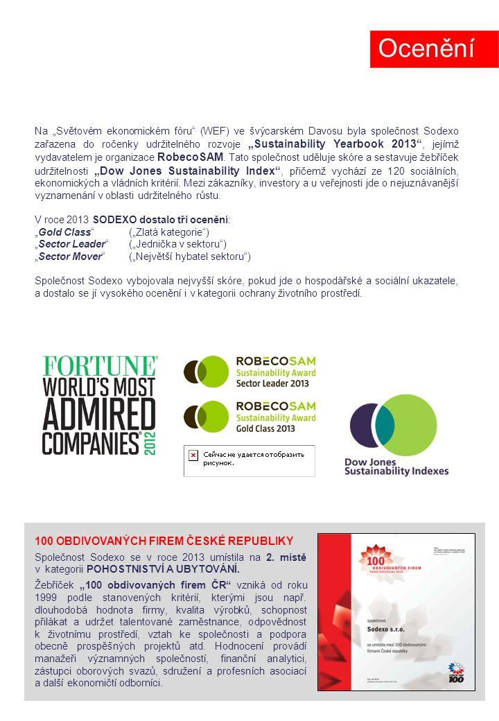 """Na """"Světovém ekonomickém fóru (WEF) ve švýcarském Davosu byla společnost Sodexo zařazena do ročenky udržitelného rozvoje """"Sustainability Yearbook 2013 , jejímž vydavatelem je organizace RobecoSAM."""