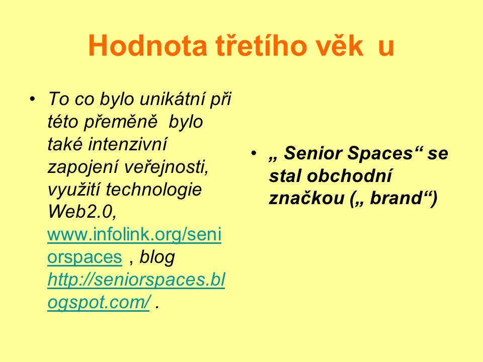 Hodnota třetího věku To co bylo unikátní při této přeměně bylo také intenzivní zapojení veřejnosti, využití technologie Web2.0, www.infolink.org/seni orspaces, blog http://seniorspaces.bl ogspot.com/.