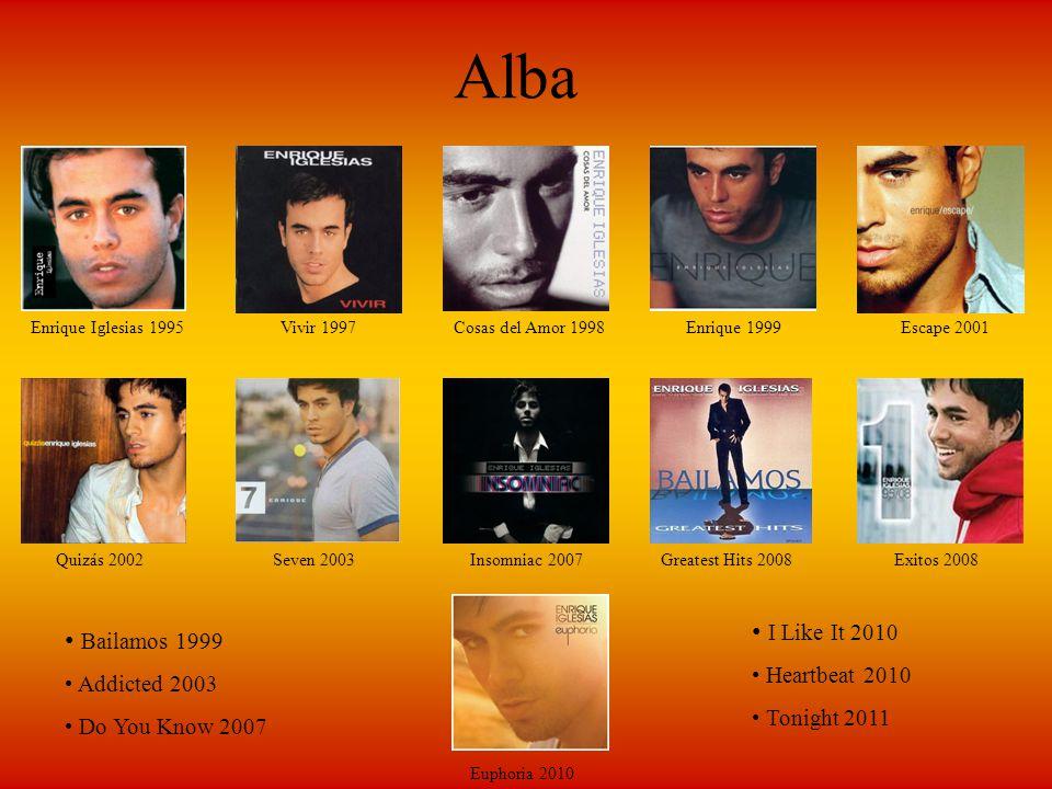 Alba Enrique Iglesias 1995Vivir 1997Cosas del Amor 1998Enrique 1999Escape 2001 Quizás 2002Seven 2003Insomniac 2007Greatest Hits 2008Exitos 2008 Euphor