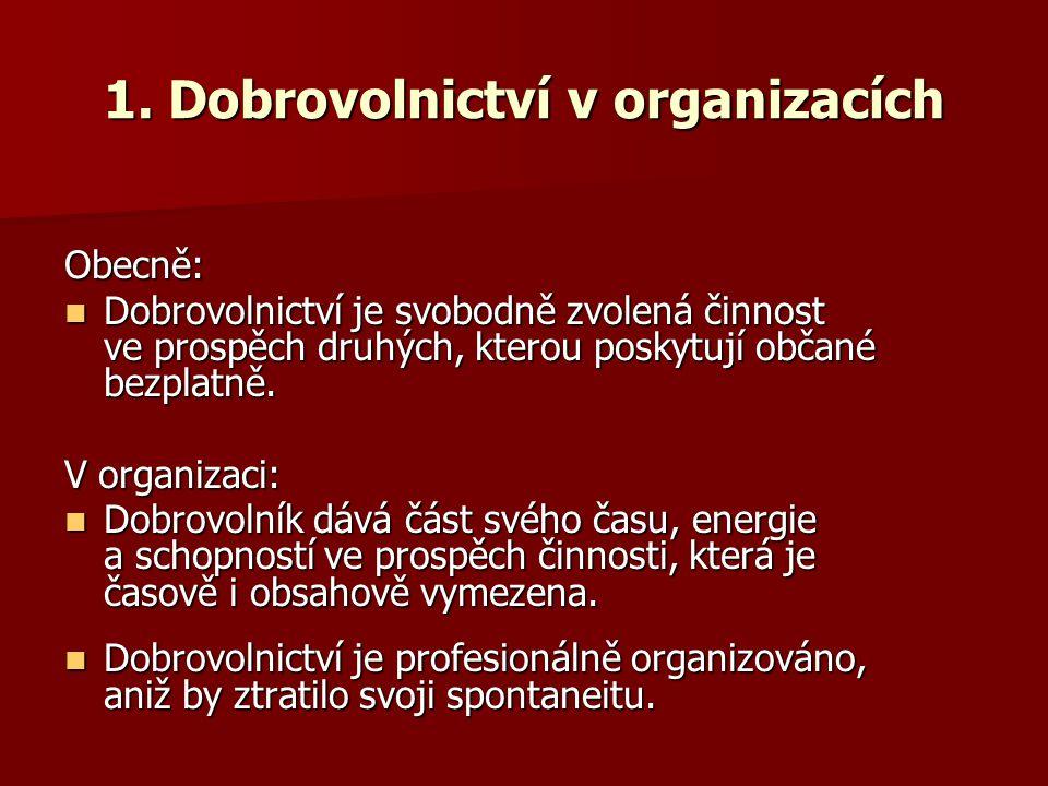 1. Dobrovolnictví v organizacích Obecně: Dobrovolnictví je svobodně zvolená činnost ve prospěch druhých, kterou poskytují občané bezplatně. Dobrovolni