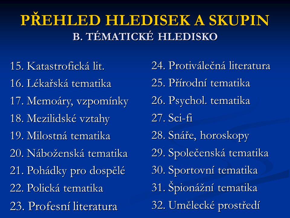 PŘEHLED HLEDISEK A SKUPIN B. TÉMATICKÉ HLEDISKO 15. Katastrofická lit. 16. Lékařská tematika 17. Memoáry, vzpomínky 18. Mezilidské vztahy 19. Milostná