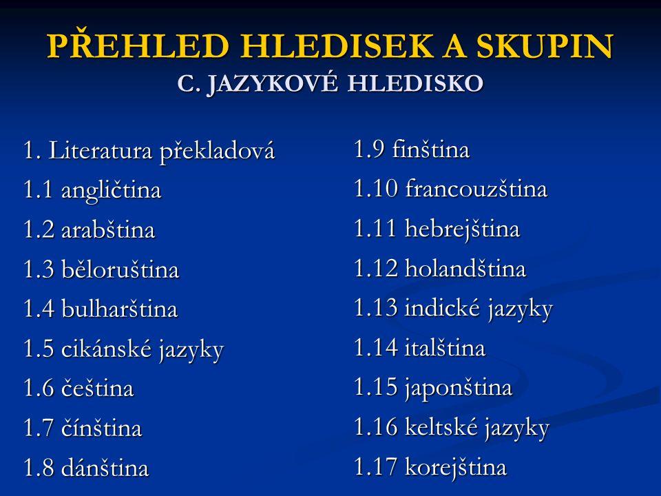 PŘEHLED HLEDISEK A SKUPIN C. JAZYKOVÉ HLEDISKO 1. Literatura překladová 1.1 angličtina 1.2 arabština 1.3 běloruština 1.4 bulharština 1.5 cikánské jazy