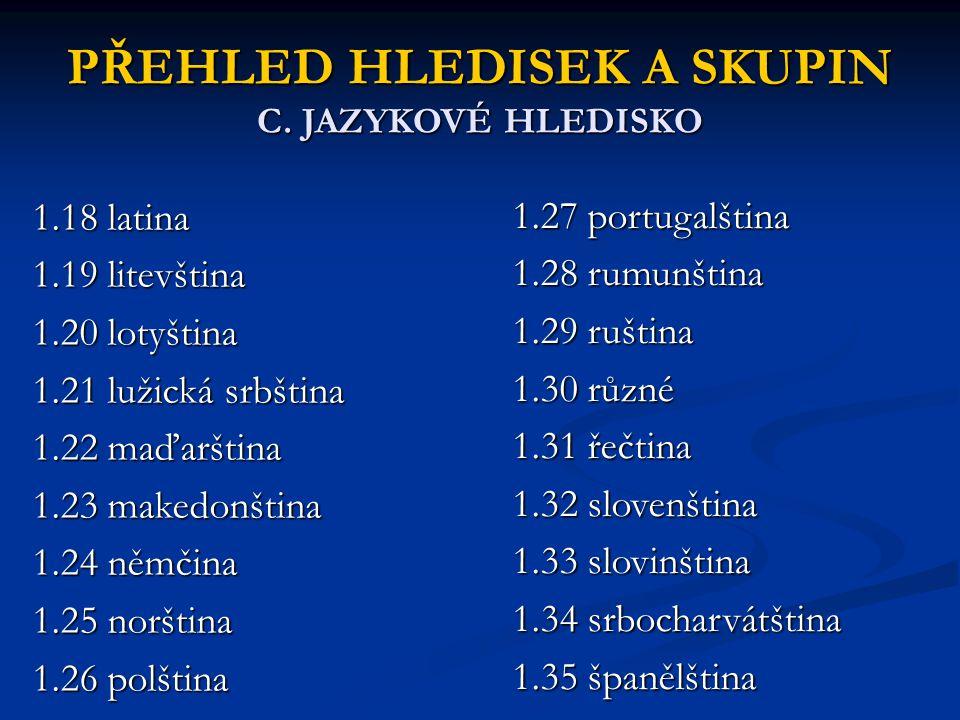 PŘEHLED HLEDISEK A SKUPIN C. JAZYKOVÉ HLEDISKO 1.18 latina 1.19 litevština 1.20 lotyština 1.21 lužická srbština 1.22 maďarština 1.23 makedonština 1.24
