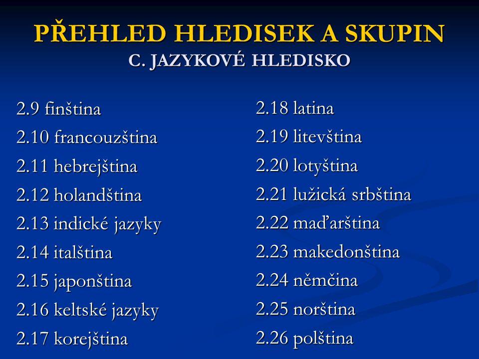 PŘEHLED HLEDISEK A SKUPIN C. JAZYKOVÉ HLEDISKO 2.9 finština 2.10 francouzština 2.11 hebrejština 2.12 holandština 2.13 indické jazyky 2.14 italština 2.