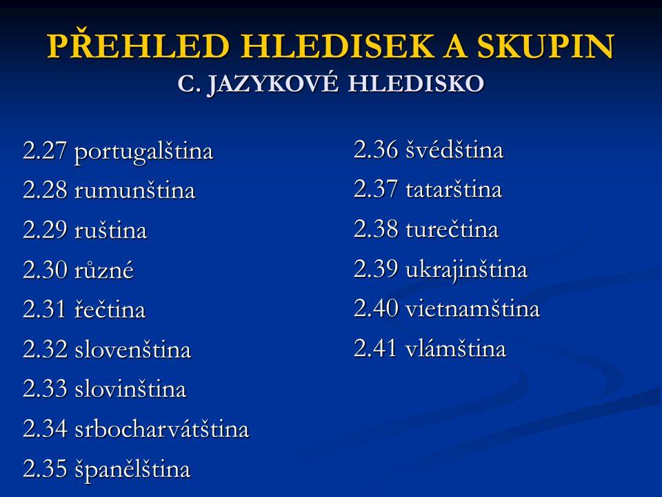 PŘEHLED HLEDISEK A SKUPIN C. JAZYKOVÉ HLEDISKO 2.27 portugalština 2.28 rumunština 2.29 ruština 2.30 různé 2.31 řečtina 2.32 slovenština 2.33 slovinšti
