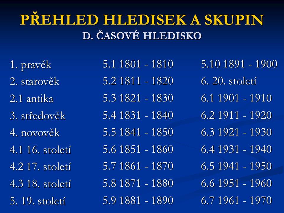 PŘEHLED HLEDISEK A SKUPIN D. ČASOVÉ HLEDISKO 1. pravěk 2. starověk 2.1 antika 3. středověk 4. novověk 4.1 16. století 4.2 17. století 4.3 18. století