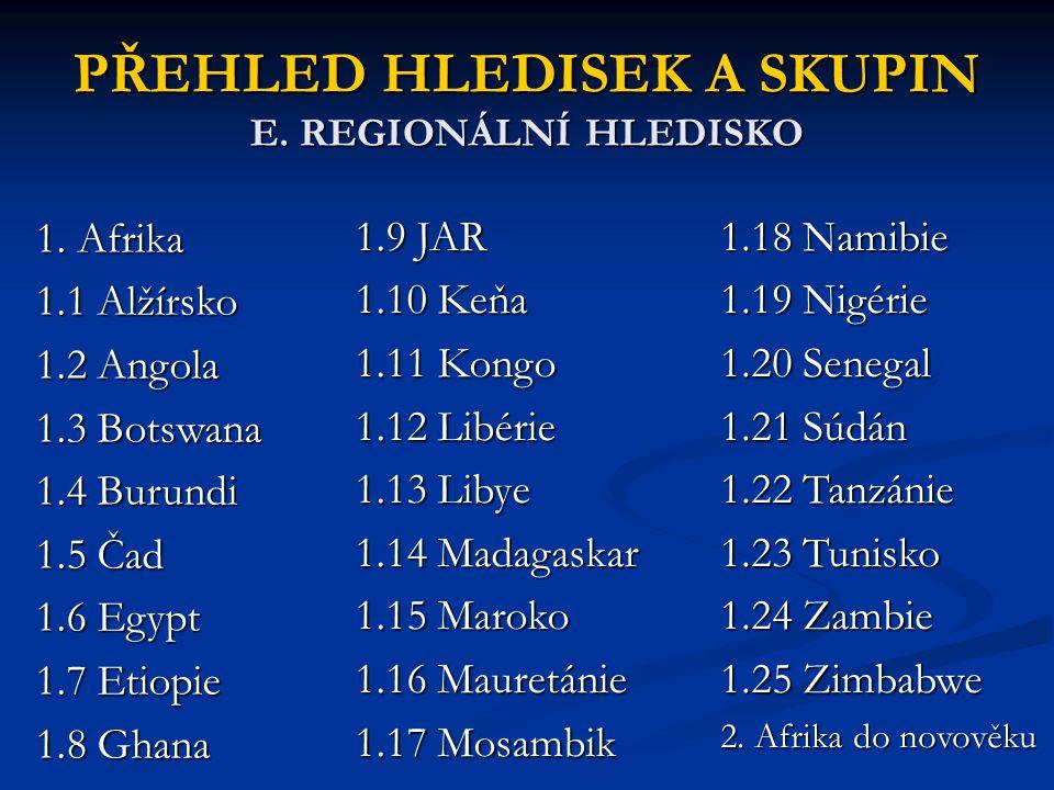 PŘEHLED HLEDISEK A SKUPIN E. REGIONÁLNÍ HLEDISKO 1. Afrika 1.1 Alžírsko 1.2 Angola 1.3 Botswana 1.4 Burundi 1.5 Čad 1.6 Egypt 1.7 Etiopie 1.8 Ghana 1.