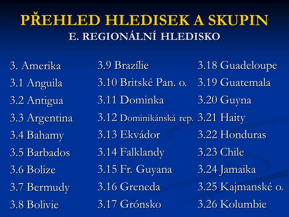 PŘEHLED HLEDISEK A SKUPIN E. REGIONÁLNÍ HLEDISKO 3. Amerika 3.1 Anguila 3.2 Antigua 3.3 Argentina 3.4 Bahamy 3.5 Barbados 3.6 Bolize 3.7 Bermudy 3.8 B