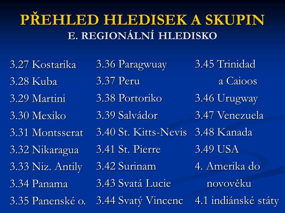 PŘEHLED HLEDISEK A SKUPIN E. REGIONÁLNÍ HLEDISKO 3.27 Kostarika 3.28 Kuba 3.29 Martini 3.30 Mexiko 3.31 Montsserat 3.32 Nikaragua 3.33 Niz. Antily 3.3