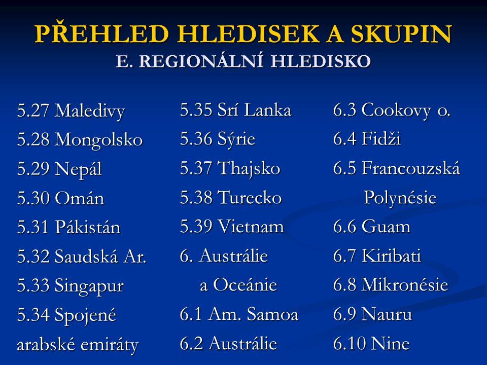 PŘEHLED HLEDISEK A SKUPIN E. REGIONÁLNÍ HLEDISKO 5.27 Maledivy 5.28 Mongolsko 5.29 Nepál 5.30 Omán 5.31 Pákistán 5.32 Saudská Ar. 5.33 Singapur 5.34 S