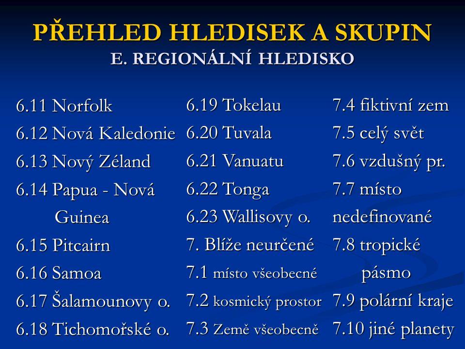 PŘEHLED HLEDISEK A SKUPIN E. REGIONÁLNÍ HLEDISKO 6.11 Norfolk 6.12 Nová Kaledonie 6.13 Nový Zéland 6.14 Papua - Nová Guinea Guinea 6.15 Pitcairn 6.16