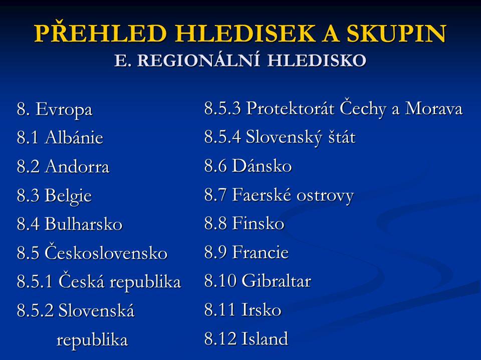 PŘEHLED HLEDISEK A SKUPIN E. REGIONÁLNÍ HLEDISKO 8. Evropa 8.1 Albánie 8.2 Andorra 8.3 Belgie 8.4 Bulharsko 8.5 Československo 8.5.1 Česká republika 8