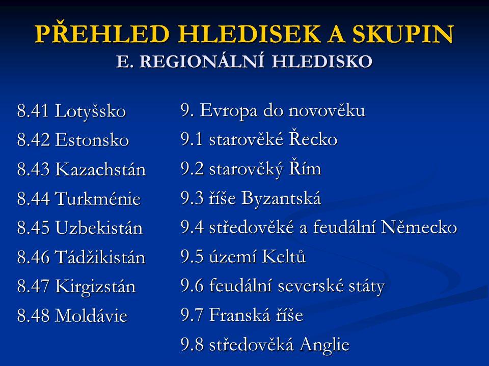 PŘEHLED HLEDISEK A SKUPIN E. REGIONÁLNÍ HLEDISKO 8.41 Lotyšsko 8.42 Estonsko 8.43 Kazachstán 8.44 Turkménie 8.45 Uzbekistán 8.46 Tádžikistán 8.47 Kirg