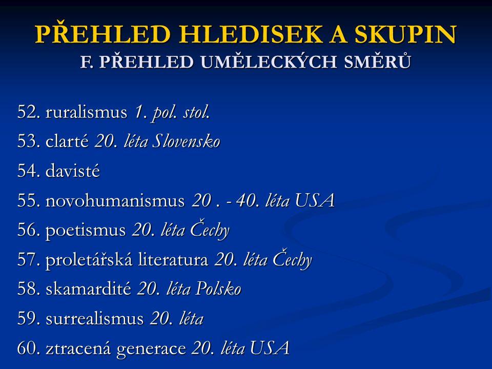 PŘEHLED HLEDISEK A SKUPIN F. PŘEHLED UMĚLECKÝCH SMĚRŮ 52. ruralismus 1. pol. stol. 53. clarté 20. léta Slovensko 54. davisté 55. novohumanismus 20. -