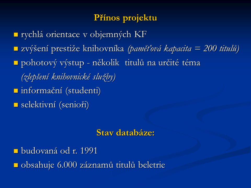 Přínos projektu rychlá orientace v objemných KF rychlá orientace v objemných KF zvýšení prestiže knihovníka (paměťová kapacita = 200 titulů) zvýšení p