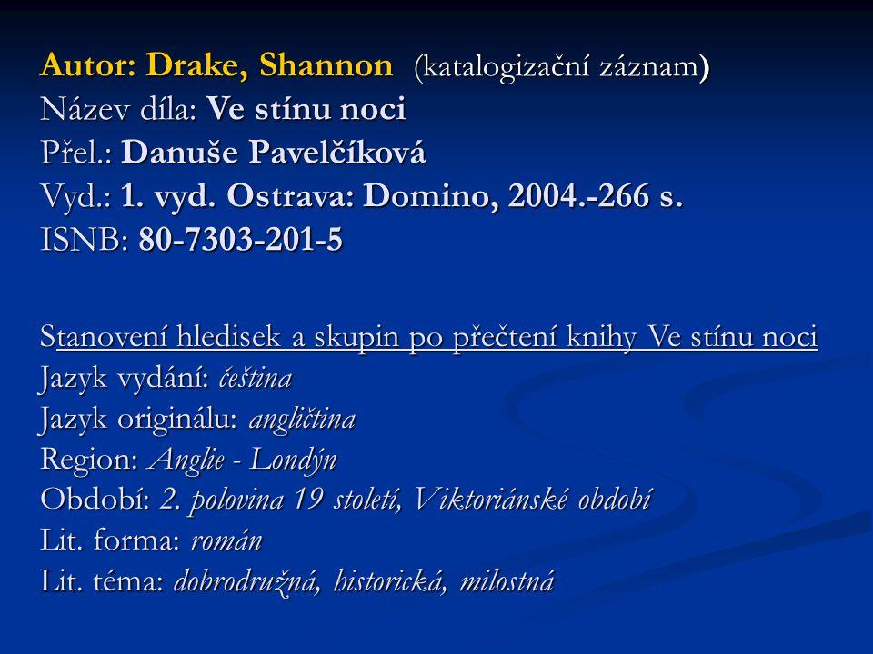 Autor: Drake, Shannon (katalogizační záznam) Název díla: Ve stínu noci Přel.: Danuše Pavelčíková Vyd.: 1. vyd. Ostrava: Domino, 2004.-266 s. ISNB: 80-