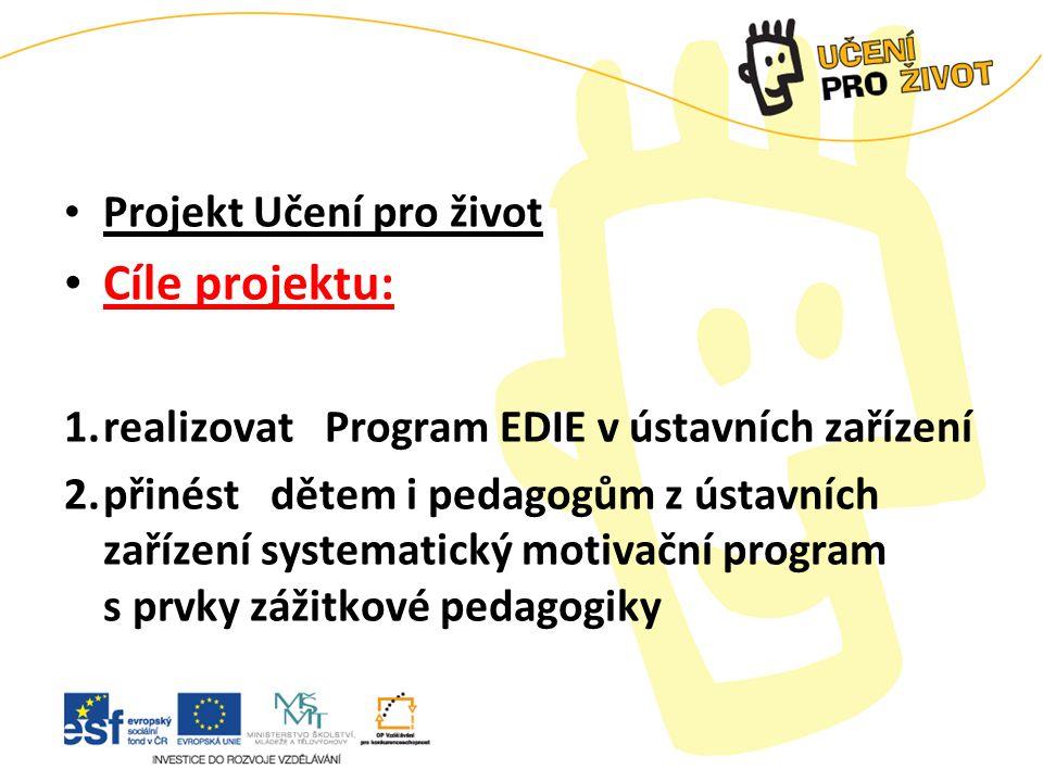 Projekt Učení pro život Cíle projektu: 1.realizovat Program EDIE v ústavních zařízení 2.přinést dětem i pedagogům z ústavních zařízení systematický motivační program s prvky zážitkové pedagogiky