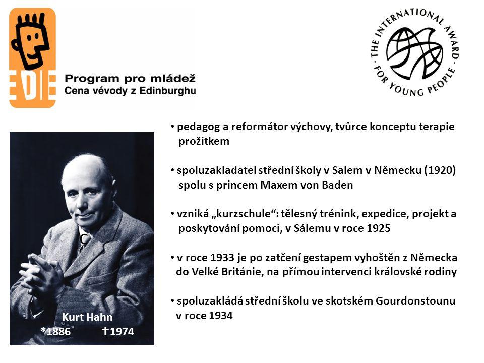 C Lord John Hunt *1910  1998 Princ Philip *1921 Kurt Hahn *1886  1974 pedagog a reformátor výchovy, tvůrce konceptu terapie prožitkem spoluzakladate