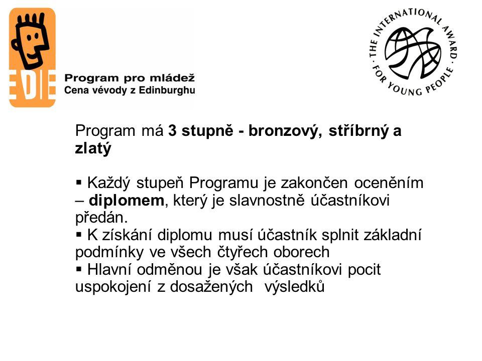 Program má 3 stupně - bronzový, stříbrný a zlatý  Každý stupeň Programu je zakončen oceněním – diplomem, který je slavnostně účastníkovi předán.