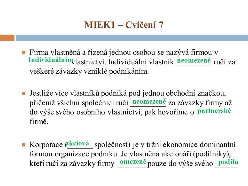 MIEK1 – Cvičení 7 Firma vlastněná a řízená jednou osobou se nazývá firmou v ___________ vlastnictví. Individuální vlastník __________ ručí za veškeré