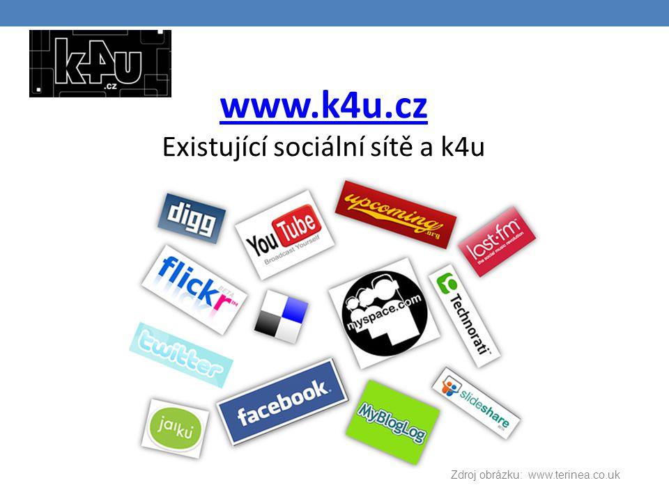 www.k4u.cz www.k4u.cz Existující sociální sítě a k4u Zdroj obrázku: www.terinea.co.uk