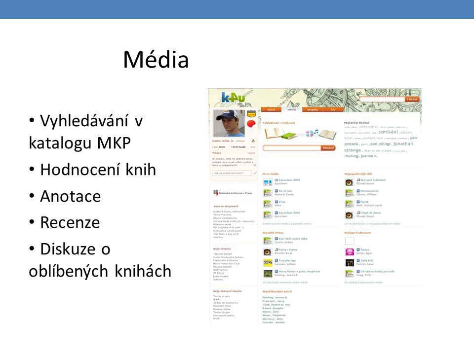 Média Vyhledávání v katalogu MKP Hodnocení knih Anotace Recenze Diskuze o oblíbených knihách