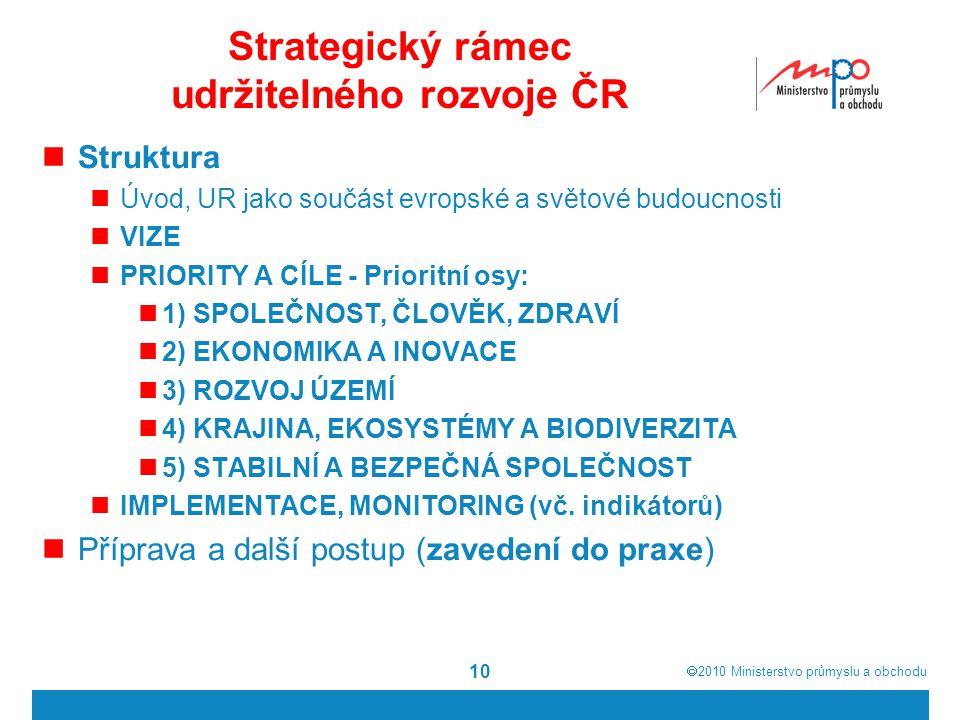  2010  Ministerstvo průmyslu a obchodu Strategický rámec udržitelného rozvoje ČR Struktura Úvod, UR jako součást evropské a světové budoucnosti VIZ