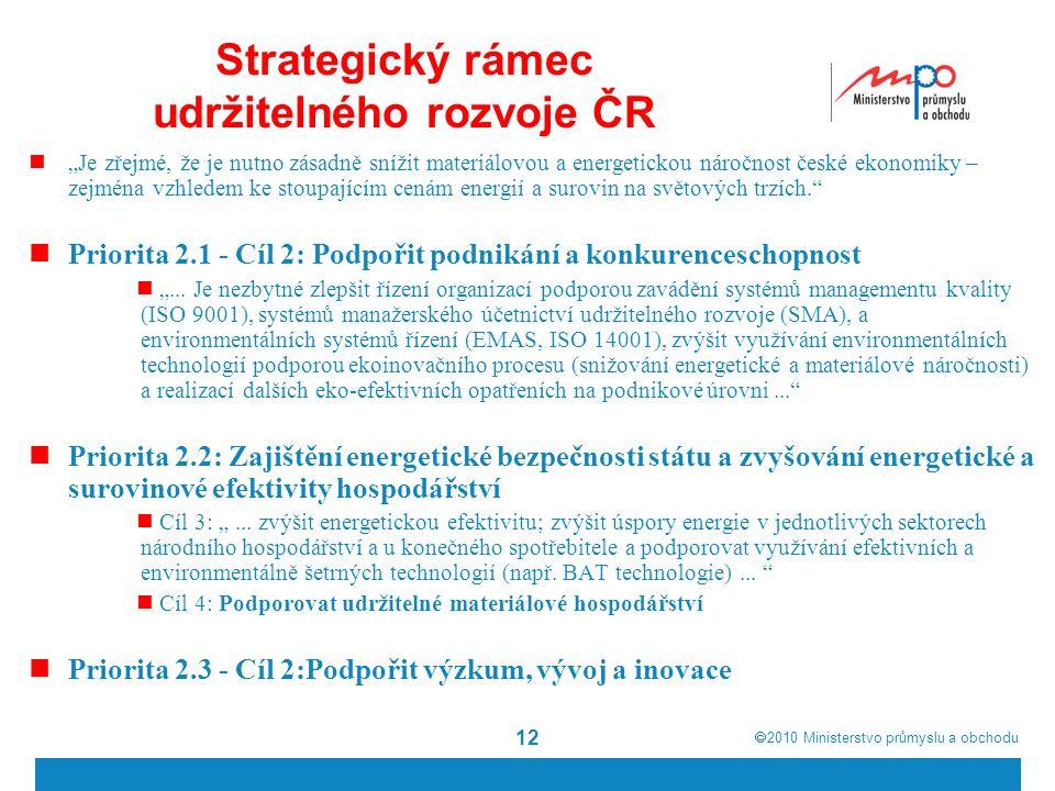 """ 2010  Ministerstvo průmyslu a obchodu Strategický rámec udržitelného rozvoje ČR """"Je zřejmé, že je nutno zásadně snížit materiálovou a energetickou"""