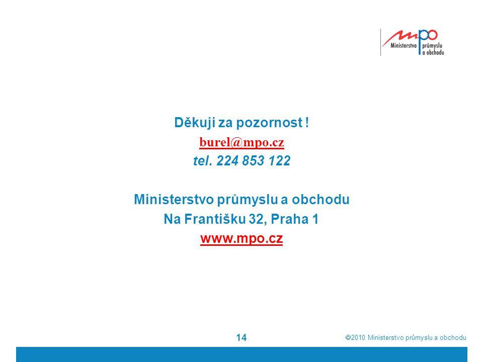  2010  Ministerstvo průmyslu a obchodu Děkuji za pozornost ! burel@mpo.cz tel. 224 853 122 Ministerstvo průmyslu a obchodu Na Františku 32, Praha 1