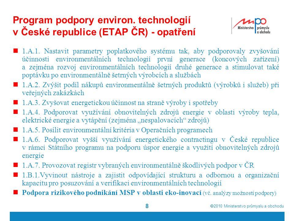  2010  Ministerstvo průmyslu a obchodu Program podpory environ. technologií v České republice (ETAP ČR) - opatření 1.A.1. Nastavit parametry poplat