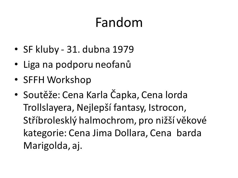 Fandom SF kluby - 31. dubna 1979 Liga na podporu neofanů SFFH Workshop Soutěže: Cena Karla Čapka, Cena lorda Trollslayera, Nejlepší fantasy, Istrocon,