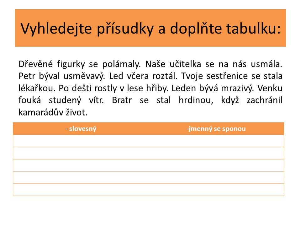 Vyhledejte přísudky a doplňte tabulku: - slovesný-jmenný se sponou Dřevěné figurky se polámaly.