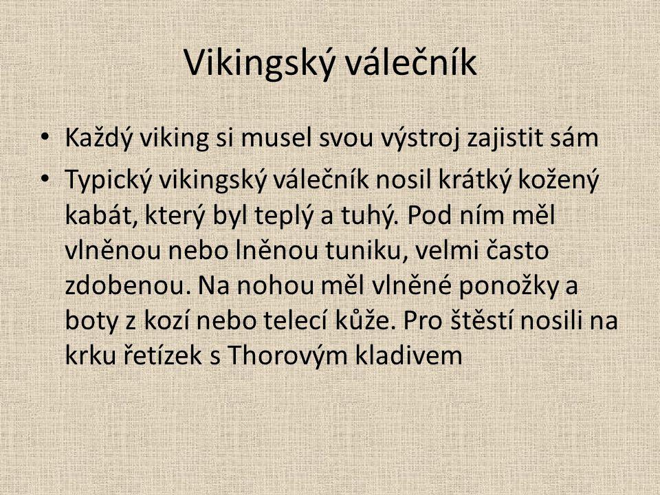 Vikingský válečník Každý viking si musel svou výstroj zajistit sám Typický vikingský válečník nosil krátký kožený kabát, který byl teplý a tuhý. Pod n