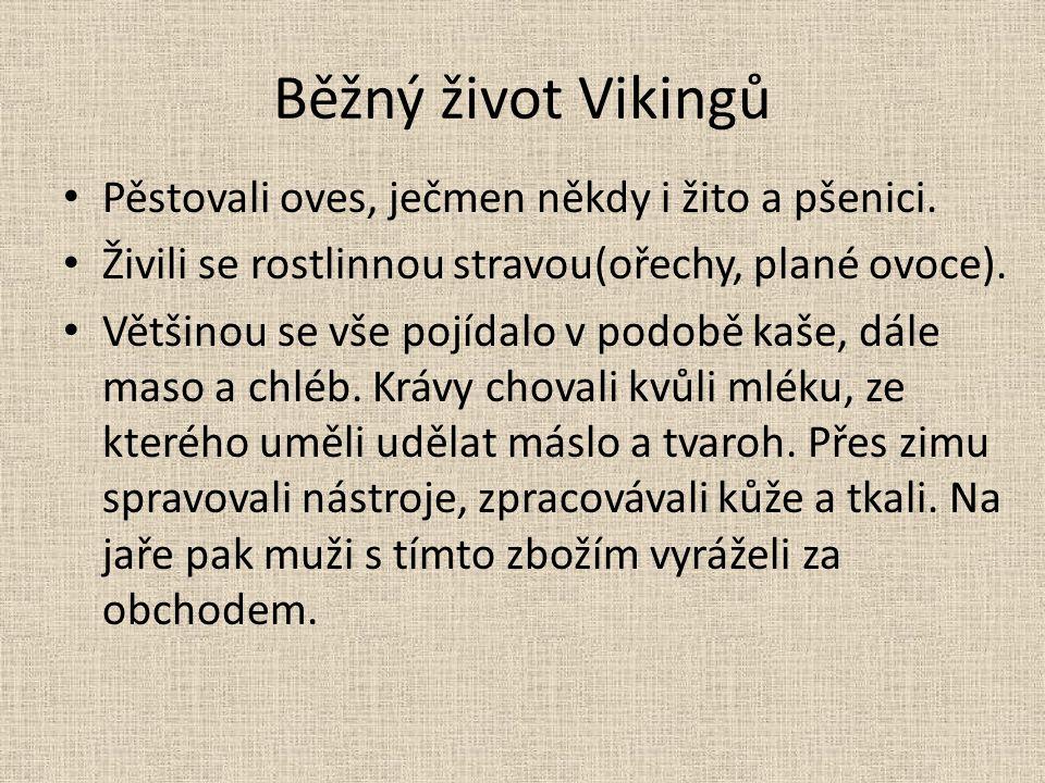 Běžný život Vikingů Pěstovali oves, ječmen někdy i žito a pšenici. Živili se rostlinnou stravou(ořechy, plané ovoce). Většinou se vše pojídalo v podob