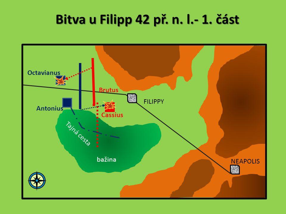 Bitva u Filipp 42 př. n. l.- 1. část Octavianus Antonius Brutus Cassius FILIPPY NEAPOLIS bažina Tajná cesta