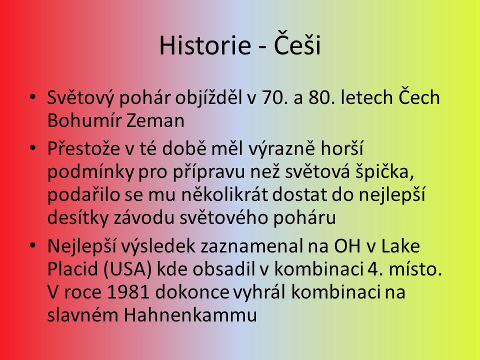 Historie - Češi Světový pohár objížděl v 70. a 80. letech Čech Bohumír Zeman Přestože v té době měl výrazně horší podmínky pro přípravu než světová šp
