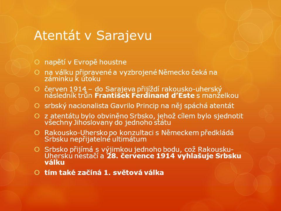 Atentát v Sarajevu  napětí v Evropě houstne  na válku připravené a vyzbrojené Německo čeká na záminku k útoku  červen 1914 – do Sarajeva přijíždí rakousko-uherský následník trůn František Ferdinand d'Este s manželkou  srbský nacionalista Gavrilo Princip na něj spáchá atentát  z atentátu bylo obviněno Srbsko, jehož cílem bylo sjednotit všechny Jihoslovany do jednoho státu  Rakousko-Uhersko po konzultaci s Německem předkládá Srbsku nepřijatelné ultimátum  Srbsko přijímá s výjimkou jednoho bodu, což Rakousku- Uhersku nestačí a 28.