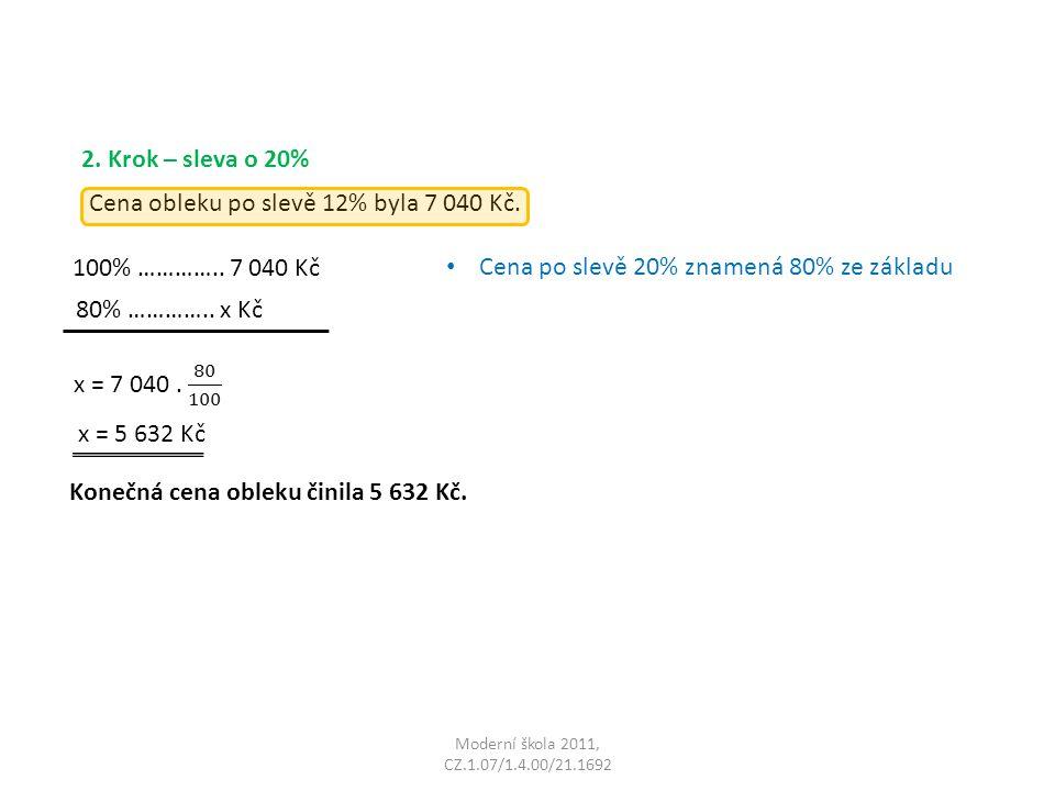 Moderní škola 2011, CZ.1.07/1.4.00/21.1692 Cena obleku po slevě 12% byla 7 040 Kč.