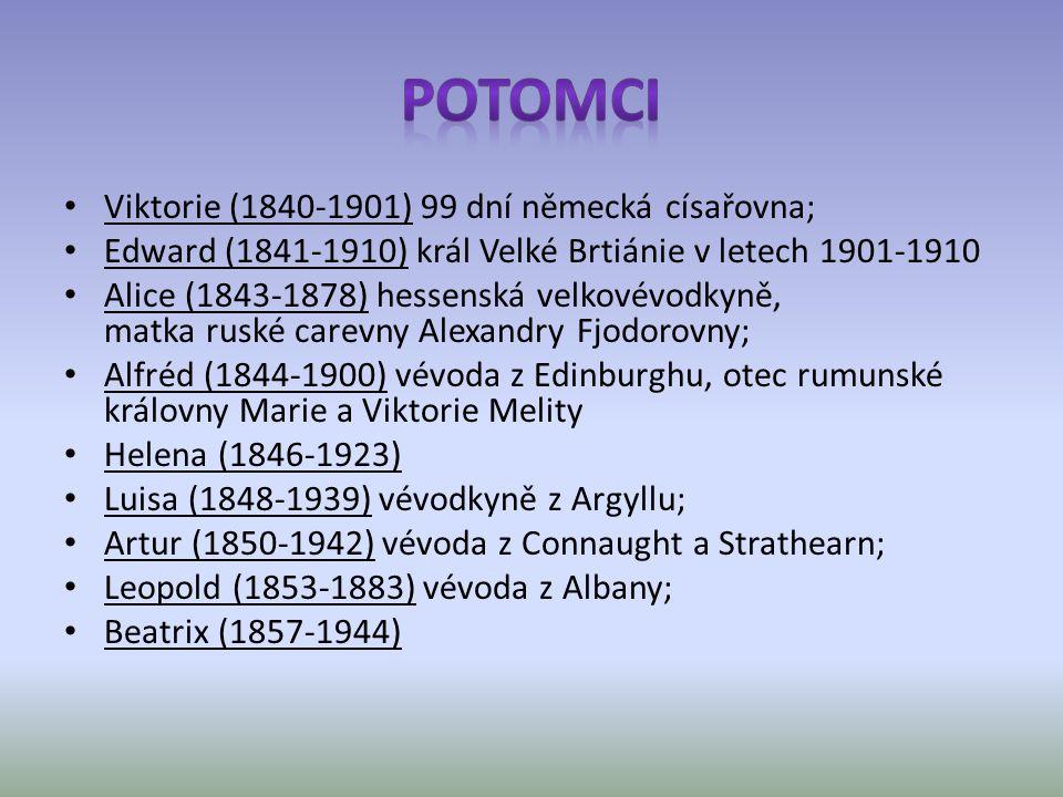 Viktorie (1840-1901) 99 dní německá císařovna; Edward (1841-1910) král Velké Brtiánie v letech 1901-1910 Alice (1843-1878) hessenská velkovévodkyně, matka ruské carevny Alexandry Fjodorovny; Alfréd (1844-1900) vévoda z Edinburghu, otec rumunské královny Marie a Viktorie Melity Helena (1846-1923) Luisa (1848-1939) vévodkyně z Argyllu; Artur (1850-1942) vévoda z Connaught a Strathearn; Leopold (1853-1883) vévoda z Albany; Beatrix (1857-1944)